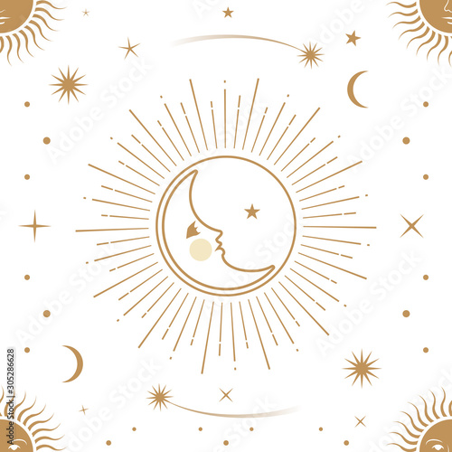 Fototapeta Moon, sun and stars, seamless ornamental pattern