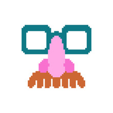 Glasses Nose And Mustache Pixel Art. April Fools Day Mask 8 Bit. Pixelate Funny Disguise Mask