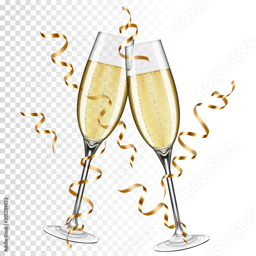 Two glasses of champagne with ribbon, isolated on transparent background Fototapeta