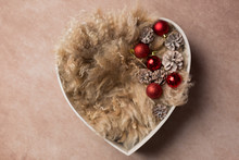 Props For Newborn Photo Shoot. Props For A Photo Shoot. White Heart Christmas Balls