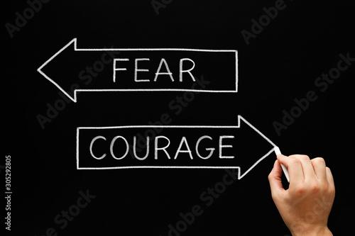 Photo Courage No Fear Antonym Words Concept