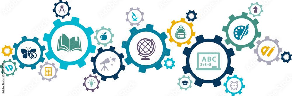 Fototapeta education icon concept: school / college / studying interconnected symbols - vector illustration