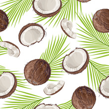 Seamless Pattern With Coconut ...
