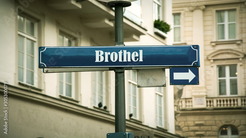 Photo Street Sign to Brothel