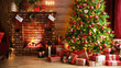 canvas print picture interior christmas. magic glowing tree, fireplace, gifts in  dark  .