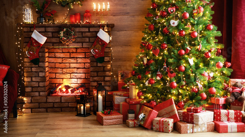 Door stickers Countryside interior christmas. magic glowing tree, fireplace, gifts in dark .