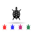 The painted mexican tortoise multi color icon. Simple glyph, flat vector of mexico icons for ui and ux, website or mobile application