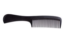 Black Hair Comb On White Background. Plastic Hair Brush And Copy Space.