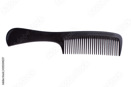 Photographie Black hair comb on white background