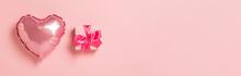 Pink Air Balloon Heart Shape P...