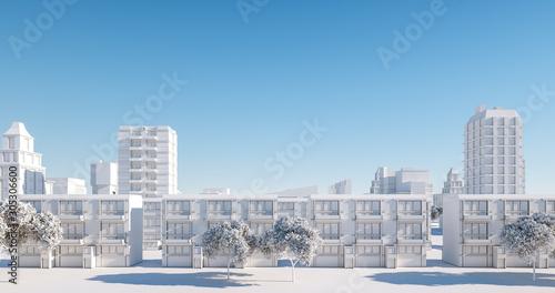 Obrazy miasto  miniaturowy-model-miasta-regularny-widok-na-ulice-renderowanie-3d