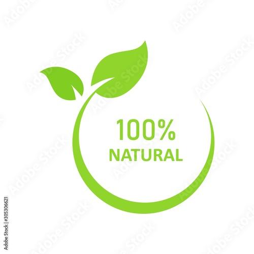 Natural leaf icon. 100% naturals vector image Wall mural