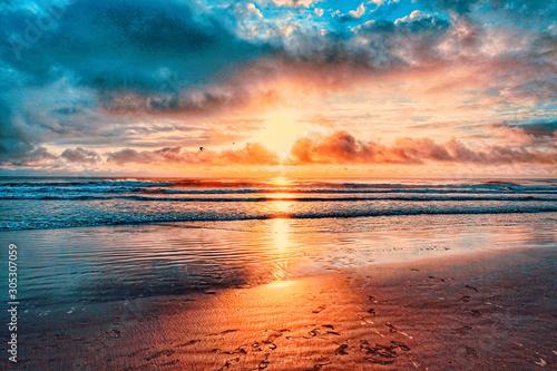 Fototapeta Atlantic Ocean, Shoreline, Florida, Coastline, Daytona Beach, beach, sun, sunrise, waves, tides,  obraz