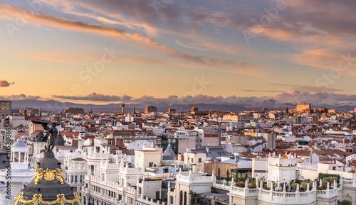 Printed kitchen splashbacks Athens The skyline of Madrid, Spain, during sunset