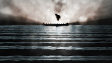 Ancient Greek Ship In Mist - 3D Illustration