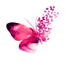 Pink Paint Butterfly. Abstract Mosaic Of Butterflies. Vector Illustration