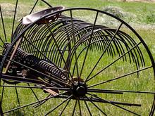 Vintage Hay Rake In A Field