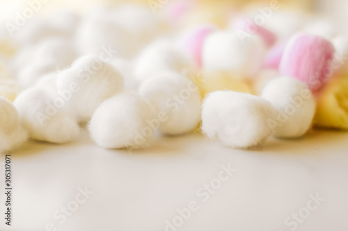 Organic cotton balls background for morning routine, spa cosmetics, hygiene and Canvas Print