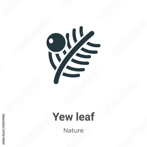 Obraz na plátně Yew leaf vector icon on white background