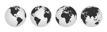 Earth Globe Icons. Earth Hemis...