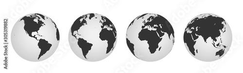 Fototapeta Earth globe icons. earth hemispheres with continents. world map set. obraz
