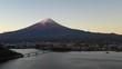 Aerial view of Mt. Fuji and lake Kawaguchiko at dawn