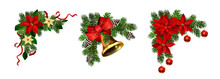Christmas Decorations With Fir Tree Golden Jingle Bells