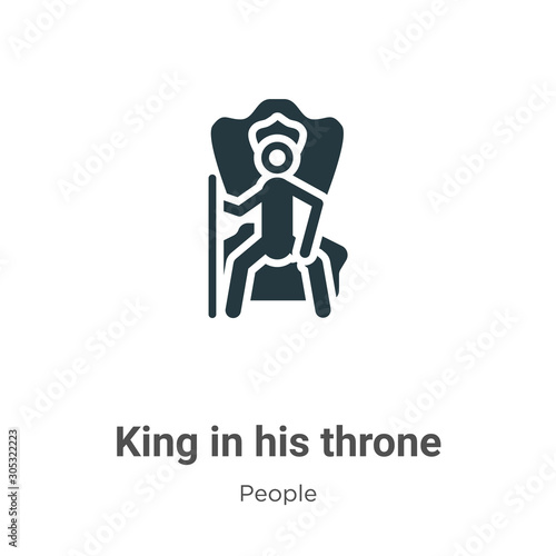 Photo  King in his throne vector icon on white background