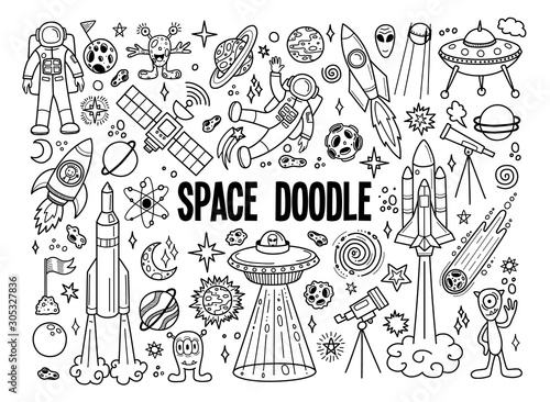Hand drawn doodles cartoon set of space objects and symbols. Doodle objects on white background. Vector illustration.