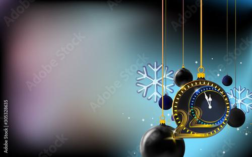 New year dark background with merry Christmas balls Slika na platnu