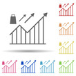 Chart, arrow up, lock, marketing approaches in multi color style icon. Simple glyph, flat vector of business icons for ui and ux, website or mobile application