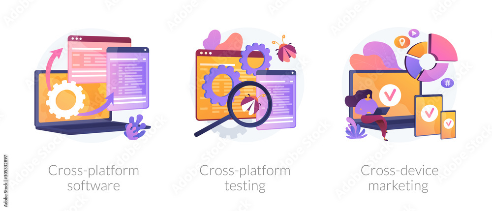 Fototapeta Cross-platform software metaphors. Multi-platform testing, platform-independent software, cross device marketing. Cartoon programmer character. Vector isolated concept metaphor illustrations