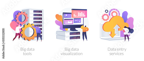 Big data metaphors icons set Wallpaper Mural