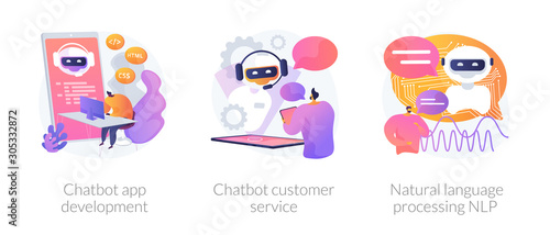 Obraz Chatbot icons set metaphors. Information engineering, artificial intelligence, chatbot app development. Customer service and language processing NLP. Vector isolated concept metaphor illustrations - fototapety do salonu