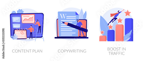 Fototapeta Internet website promotion, SEO strategy icons set