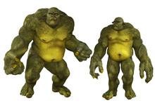 Giant Green Ogre Isolated On White, 3d Render.