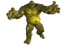 Giant Green Ogre Isolated On White, 3d Render.