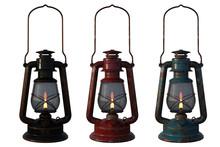 Set Of Old Oil Lanterns Isolat...