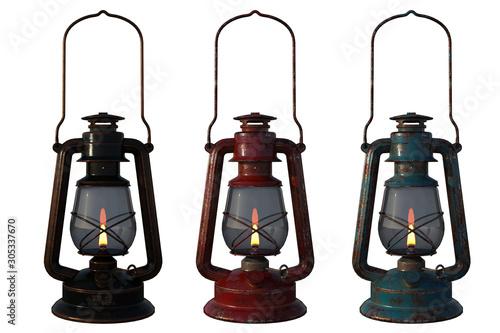 Fototapeta Set of old oil lanterns isolated on white, 3d render. obraz