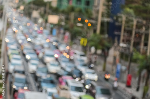 Abstract background blur of traffic jam rush hour in big city