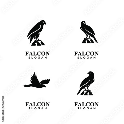 Photo set of falcon black logo icon design vector illustration