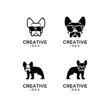 Set Of Bull Dog Head Logo Icon...