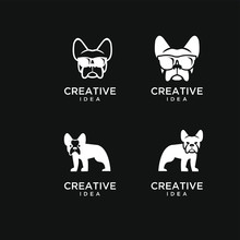 Set Of Bull Dog Head Logo Icon...