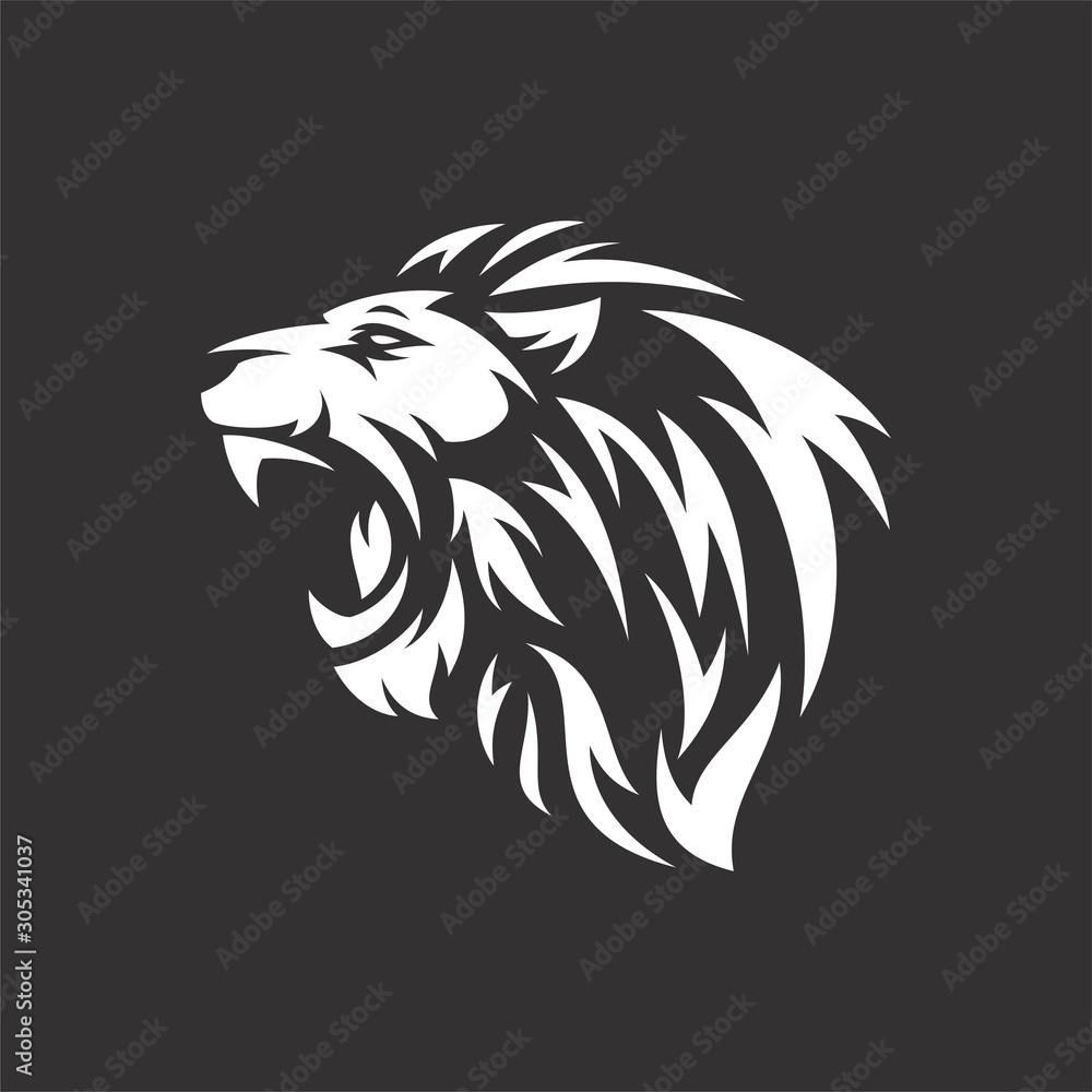 Fototapeta lion head tribal logo