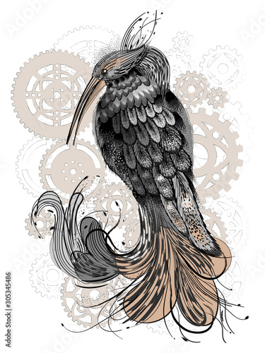 Beautiful bird on the background of gears. Canvas Print