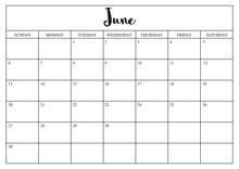 Year 2020 June Planner, Monthly Planner Calendar For June 2020 On White Background.