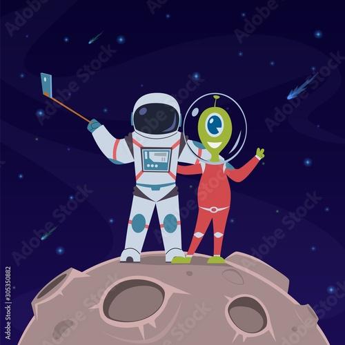 Astronaut and alien selfie Wallpaper Mural
