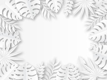 Paper Tropical Leaves. Origami Exotic Hawaiian Wild Jungle Paper Cut Leaf, Trendy Foliage Seasonal Poster Design Vector Background