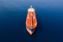 Aerial View Of A Mega Oil Tanker Cruising Slowly At The Mediterranean Sea.