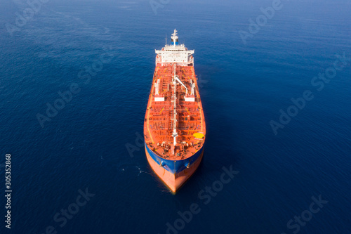 Canvas Print Aerial view of a Mega Oil tanker cruising slowly at The Mediterranean Sea